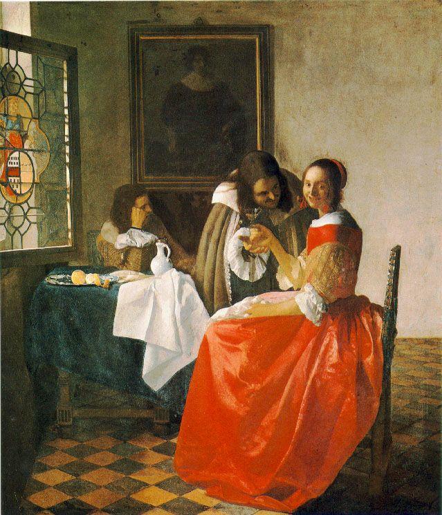 Vermeer The girl with wineglass, 1659-60, 78x67 cm, Herzog A. Ян (Йоханнес) Вермеер