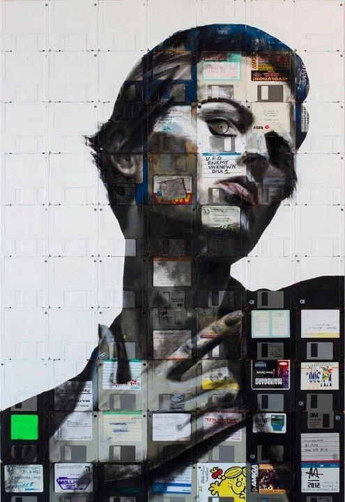 floppy disk montageDisks Portraits, Illustration Floppy Disks, Artists Nick, Art Sul-Africana, Nick Gentry, Graphics Design, Canvas, Disks Art, Painting