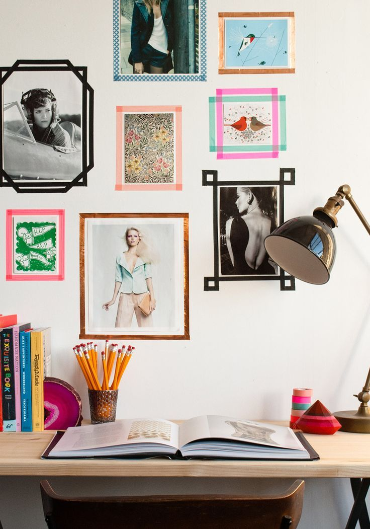 "photos ""hung"" with washi tape - LOVE this idea!"