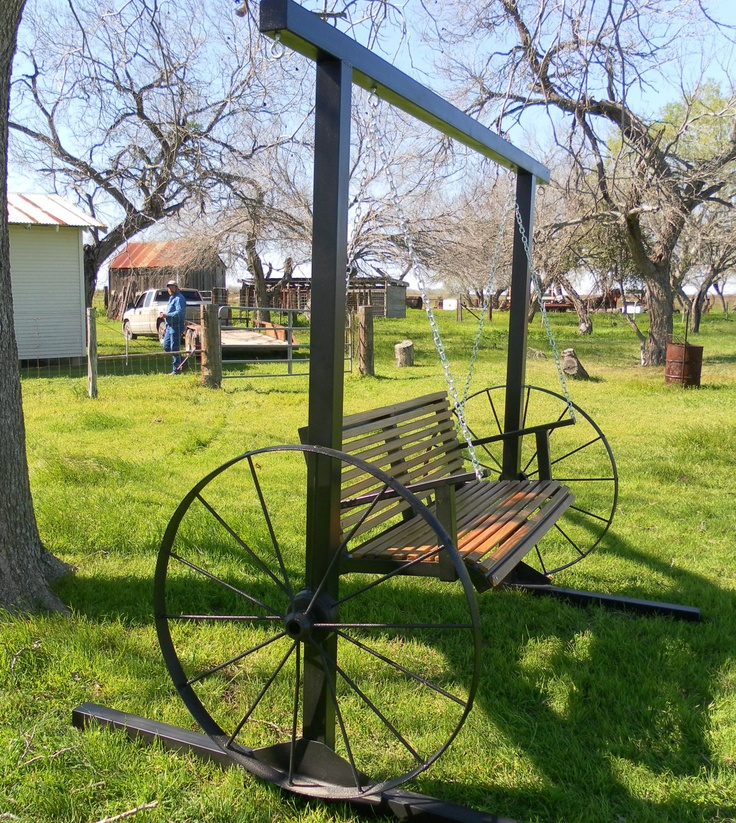 Garden Swing,  2 Antique Wagon Wheels