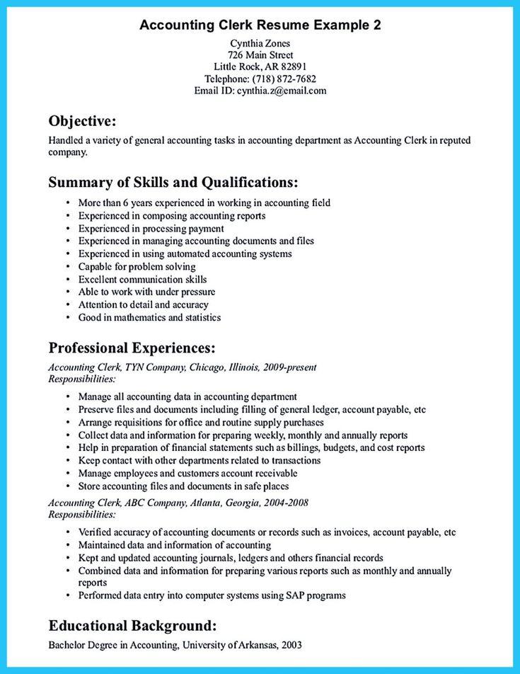 Accounting Clerk Resume Sample 2019 Resume Templates