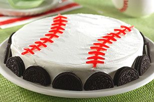 Oreo baseball cake, will make this for Bret's bday... oreos and baseball, two things he loves.: Desserts Recipes, Oreo Baseb, Dessert Recipes, Baseb Parties, Oreo Desserts, Baseb Cakes, Baseball Desserts, Baseb Desserts, Birthday Cakes