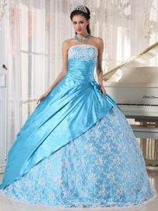 Necessary Lace Taffeta Aqua Blue Dresses for Quinceanera on Promotion