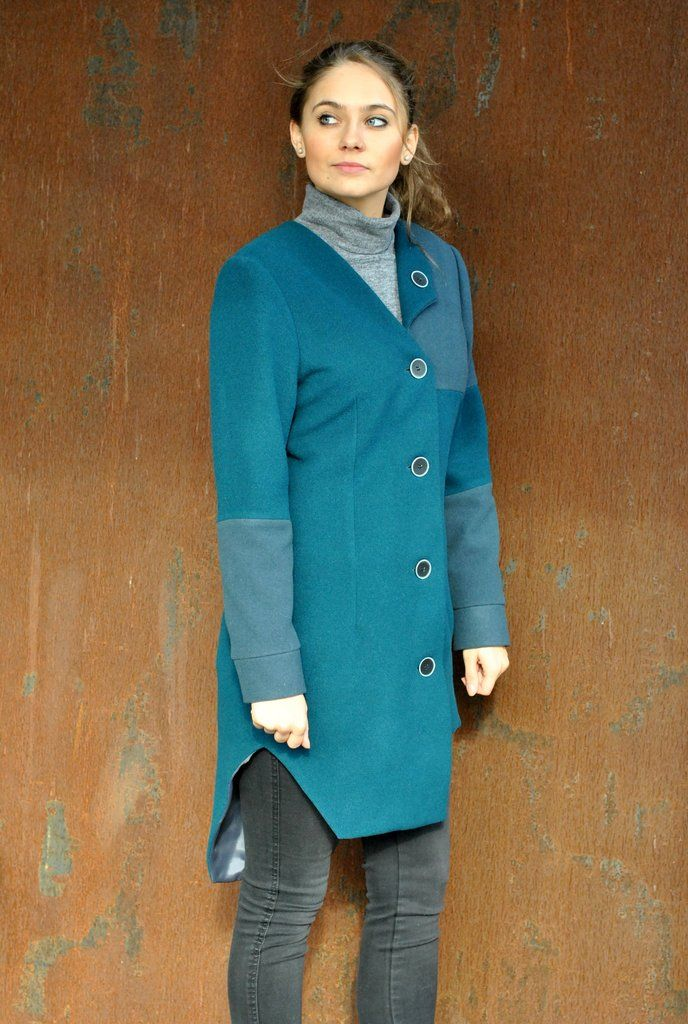 Wool Mix Tailored Asymmetric Form Coat / Wełniany Taliowany Asymetryczny Płaszcz