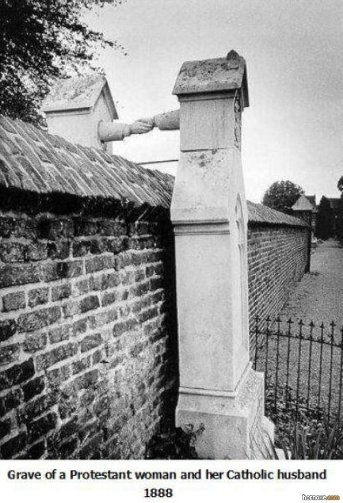 Grave of a Protestant woman and her Catholic husband buried in different churches do to their faiths but still together. 1888
