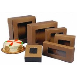 "plasticcontainercity.com    4""×4""×4"" Kraft Window Cupcake Box for 1 Cupcake - $27.54 / 100ct case   USE FOR XMAS ORNAMENT PACKAGING / see through Protective Storage"