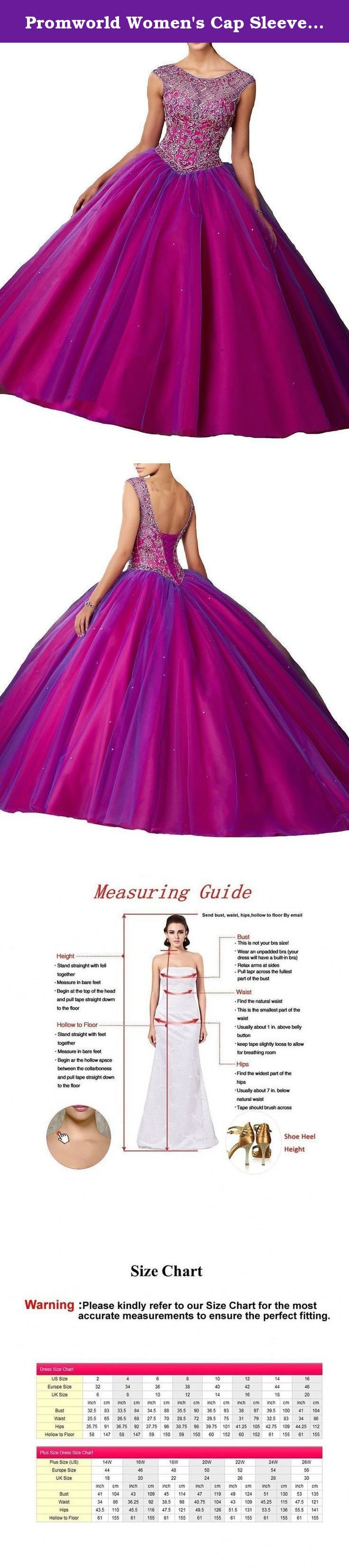 Promworld Women's Cap Sleeve Beaded Quincenera Dress Ball Gown Fuschia US6. More Details Brand: Promworld Condition: New/Made-to-Order Neckline: Scoop Neck Hemline/Train: Long/Floor Length Silhouette: A Line Sleeve Length: Cap Sleeve Season: Spring, Summer, Fall Fabric: Tulle Embellishment: Applique Style: Glamorous & Modern Color Available: Champagne, Pink, White, Ivory, Royal Blue, Mint, Coral, Black, Lilac, Lavender, Navy, Purple, Grey, Turquoise, Watermelon, Blue, Red, Yellow, Orange...
