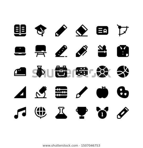 Back School Icon Sets Glyph Style Stock Vector (Royalty