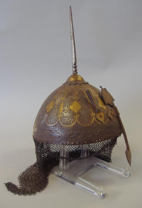18thc Indo-Persian Islamic Gilt Metal Helmet Sold for $1600