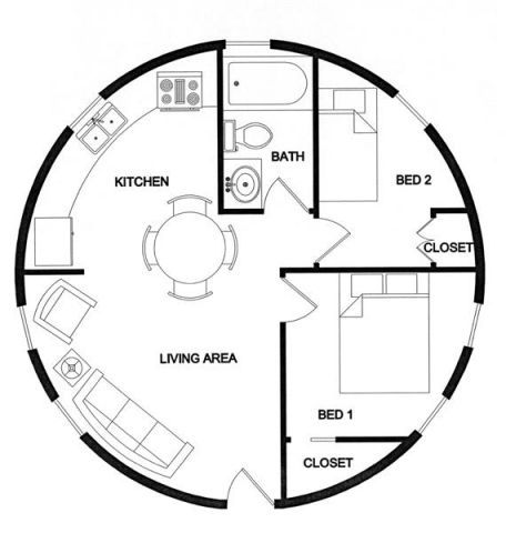 26 ft dia 540 sq ft 1 floor 2   Lexa Dome Tiny Homes: 540 Sq Ft Dome Cabin