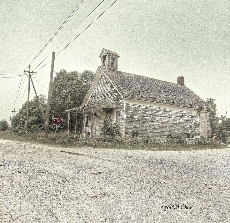 Located on Route 66 in Phelps, Missouri, is the 1 room Phelps School House built in 1889. Although abandoned years ago, some folks recently restored the old historical school house. This is a before restoration photo. #Route66 #RJsRoute66 #school #schoolhouse #historic #building #Missouri #country