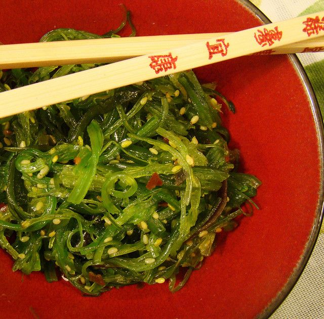 Seaweed Salad:  1 ounce dried seaweed or wakame 1/4 cup shallot, scallion or red onion  2 tablespoons soy sauce  1 tablespoon rice vinegar  1 teaspoon mirin (or sugar)  1/2 tablespoon dark sesame oil  1 pinch cayenne salt, if necessary  1 tablespoon toasted sesame seeds