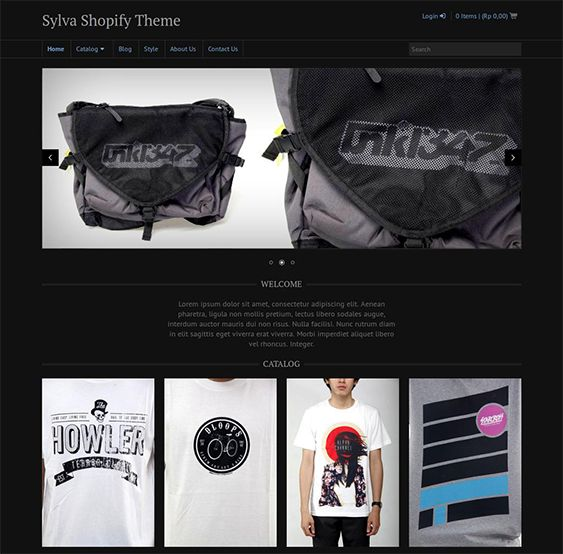 This dark Shopify theme includes a dropdown menu, Twitter integration, social sharing, a minimal design, a responsive layout, contact and newsletter signup forms, a homepage content slider, cross-browser compatibility, and more.