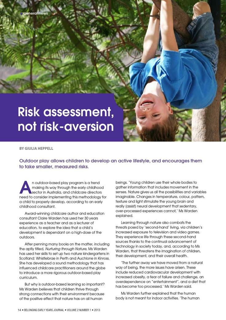 Risk assessment not risk aversion, page 16. Belonging: Early Years Journal