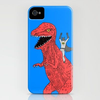 dinosaur batman forever iPhone Case by Joe Carr