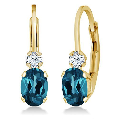 118 Ct Oval London Blue Topaz White Created Sapphire 14K Yellow Gold Earrings -- Click image for more details.