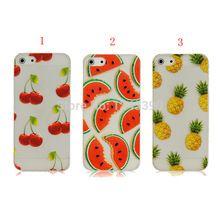 Caso bonito do Verão Frutas Abacaxi Melancia Cereja Plástico Rígido Caso Claro capa Para o iphone 5 5S SE 6 6 s Plus 7 7 além de(China)