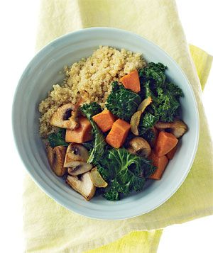 Quinoa With Mushrooms, Kale, and Sweet Potatoes|This vegetarian dinner is simple, tasty, healthy, and hearty enough to satisfy the meat lovers in your family. Try more recipes with kale—a great green winter vegetable: