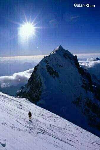 Awesome view of a mountaineer in peak Hindu Kush Himalayas Tirich Mir Chitral Khyber Pakhtunkhwa Pakistan