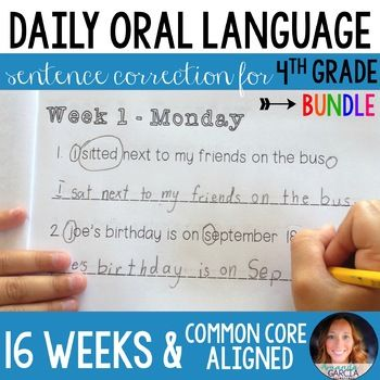 AN ENTIRE SCHOOL YEAR of daily sentence correction aligned to the 4th grade Language Arts CCSS! Five DOL booklets (each 8 weeks long in length) take your students through 40 weeks of daily sentence correction! Updated! A full page version is now available in this download!