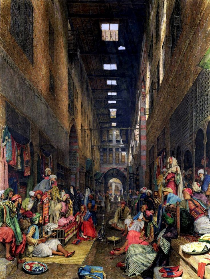 Egypt , Old Cairo Paintings: The Cairo Bazaar by John Frederick Lewis