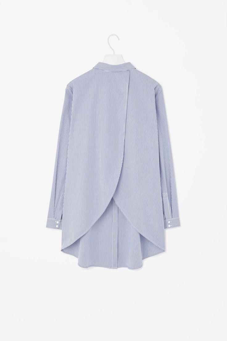 Overlap-back cotton shirt