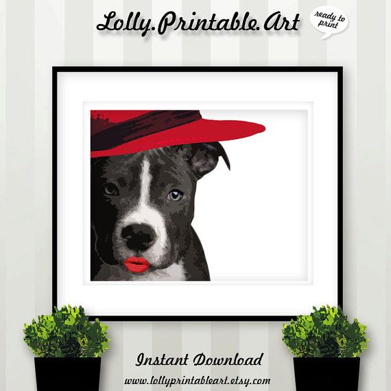 Black White and Red Dog Illustration Download by LollyPrintableArt