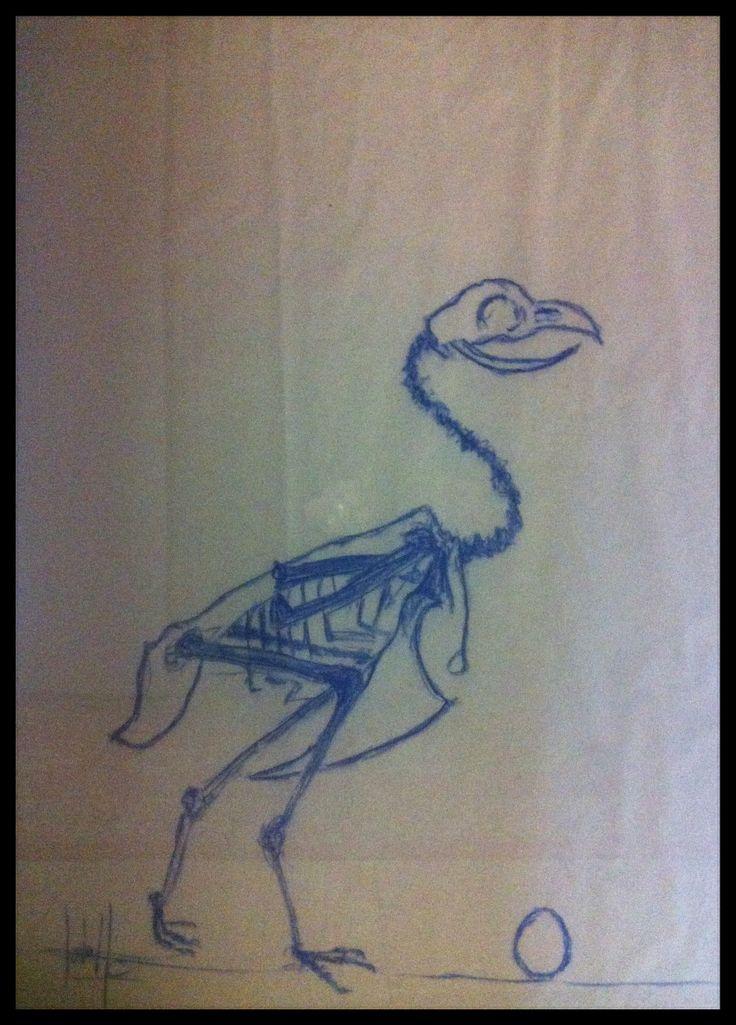 Poule squelette bleue