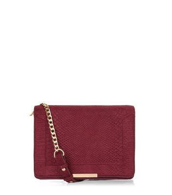 Red Structured Chain Shoulder Bag