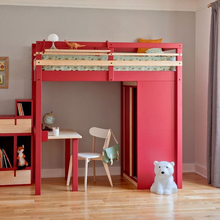 armoire lit bureau et biblioth que dans moins de 3m2 inspirations enfants ado pinterest. Black Bedroom Furniture Sets. Home Design Ideas