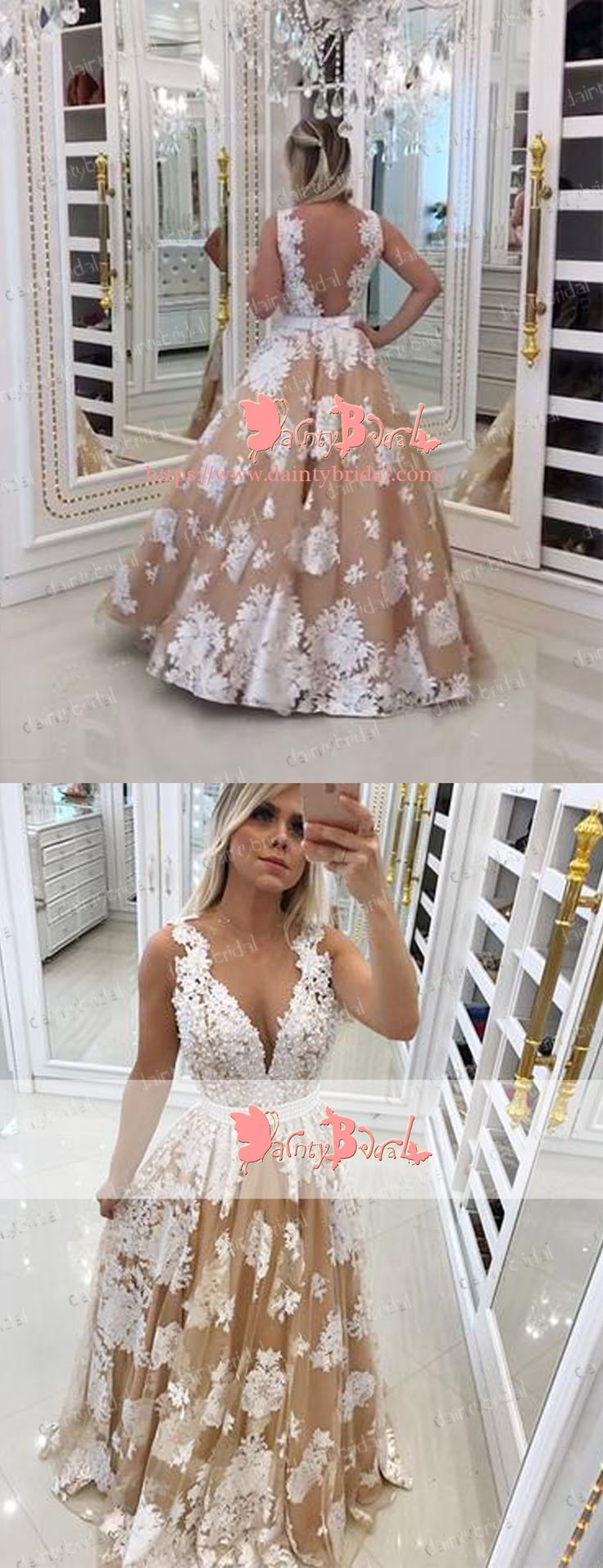 CHARMING V-NECK V-BACK SLEEVELESS IVORY LACE NUDE BALL GOWN STUNNING LONG PROM DRESSES. DB1045