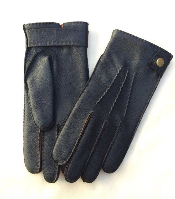 Men's+Deerskin+Leather+Gloves+Hand+sewn+Black+Brown+deer+skin+Winter+Wool+lining+Size+8,5+inches