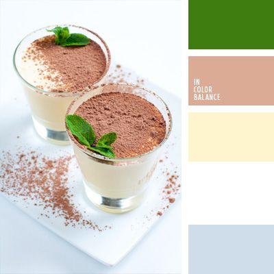 color batido de leche, color cacao, color canela, color verde menta, colores para la decoración, marrón y verde, paletas de colores para decoración, paletas para un diseñador, selección de colores.