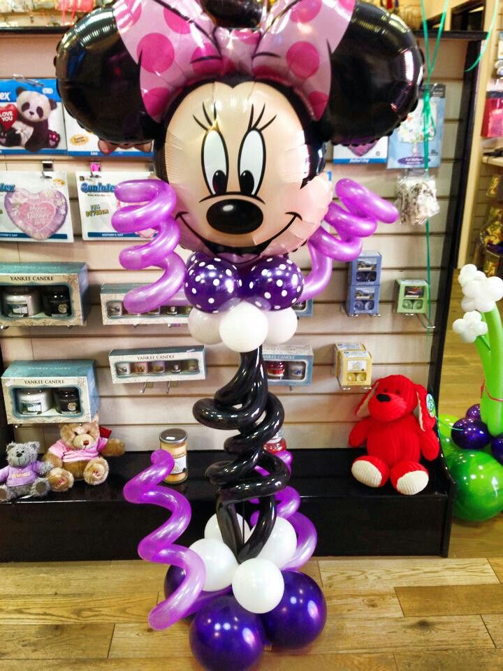 Minnie mouse centerpiece balloon pinterest purple