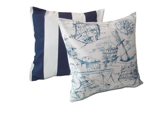Blue Nautical Throw Pillow . Two Pillow Cover 18 X 18. Decorative Throw Pillows. Navy Blue ...