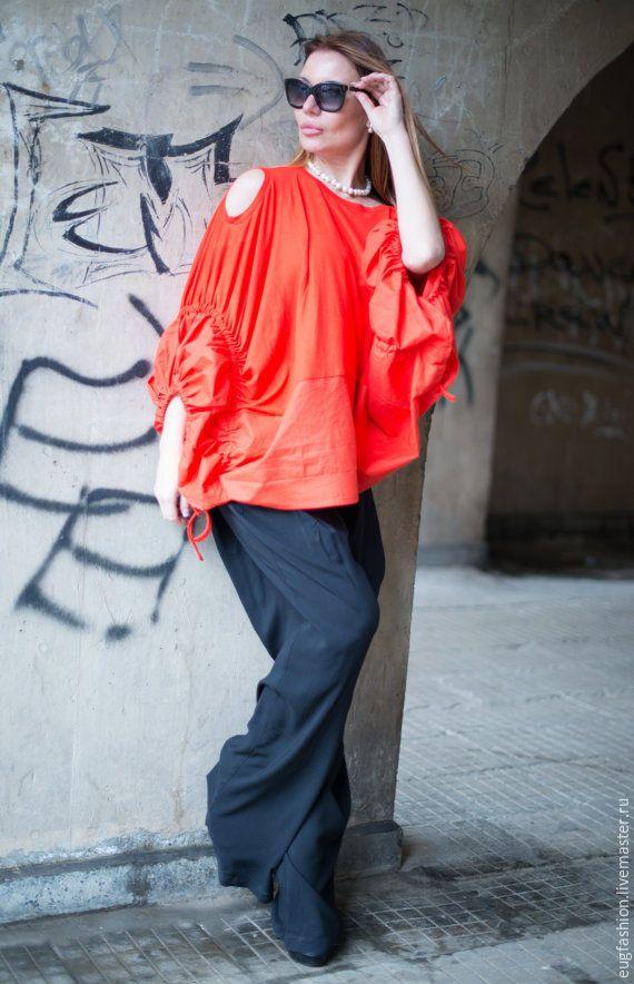 Купить Оранжевая экстравагантная блузка - оранжевый, однотонный, блузка, блузка женская, блузка нарядная