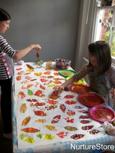 Autumn leaf printing: Collect leaves on a nature walk, come home and make leaf prints by dipping them in paint.