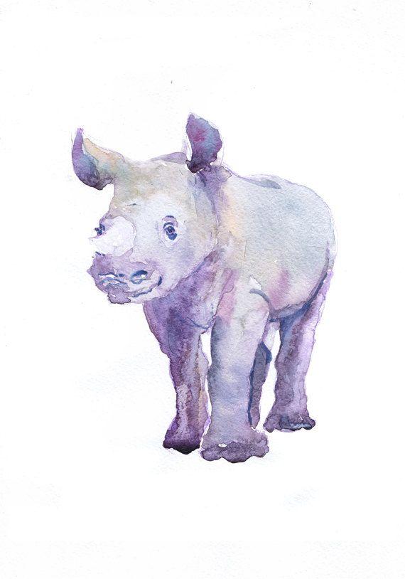 Baby Rhino Art, Watercolor Painting, Baby Boy Nursery Decor, Girl, Rhinoceros Print, Wall art, Safari, Gift ideas, Animal Prints Watercolour  high