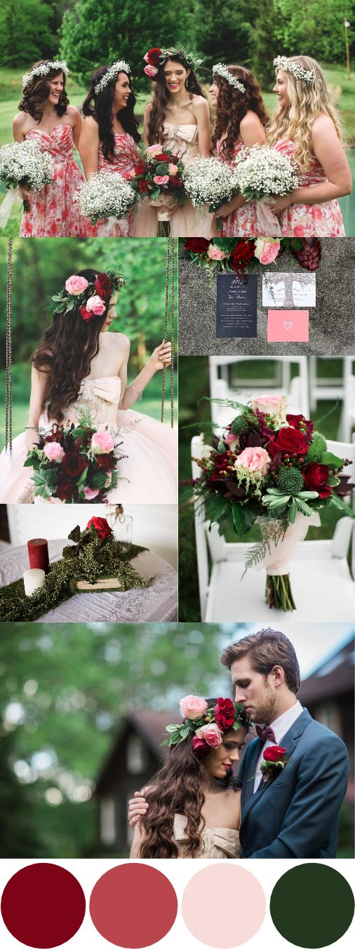 Pink, Red & Green Wedding Inspiration|Photographer:  Jasmine Rose Photography