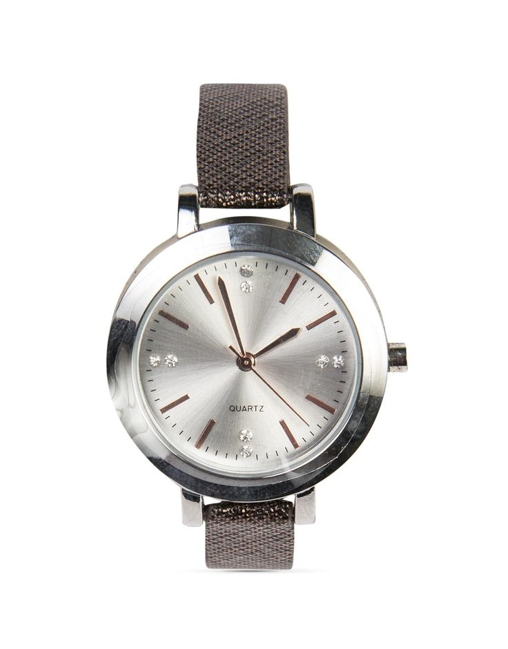 Round Textured Strap Watch