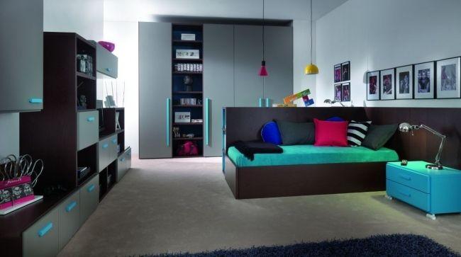 ideen  jugendzimmer junge turquoise eckbett grau dunkles holz