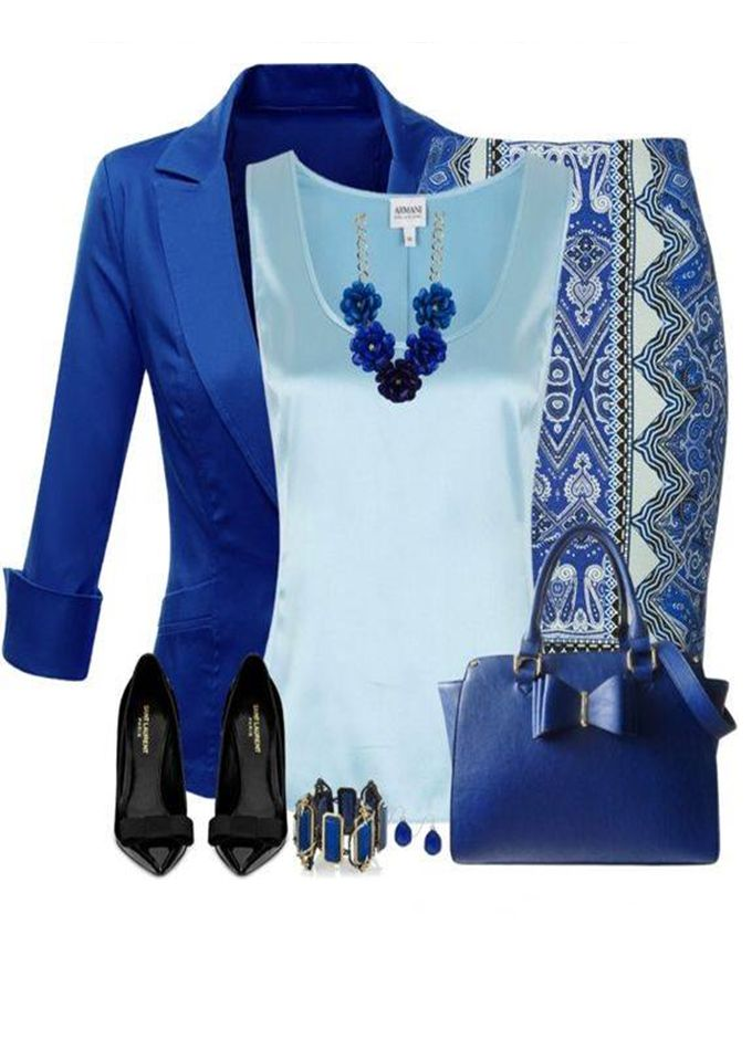 I love this color combo. The skirt is a bit too busy - but the rest is lovely.