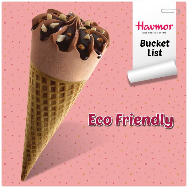 """#HavmorBucketList item no. 12: """"This year, I will be eco- friendly. Instead of wasting paper in cups, I shall opt for  crispy cones with my Havmor  Ice cream."""""""