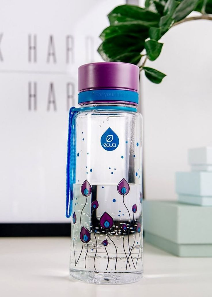 Zdravá fľaša Equa Purple Leaves 600ml - Equa fľaše 600ml - Tritánové zdravé fľaše - Eko fľaše   SolarBunny.eu