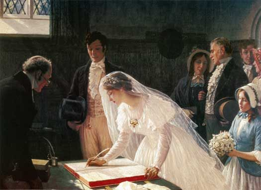 "This #painting reminds me of the opening scene of my #Victorian Era novella, The Substitute Bride! ""Signing the Register"" by Edmund Blair Leighton (1852-1922), an English painter of historical genre scenes, specializing in Regency & medieval subjects."