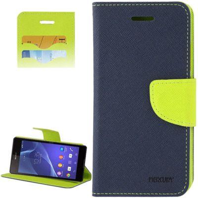 Mercury Leather Case Θήκη Πορτοφόλι Μπλε (Xperia SP) - myThiki.gr - Θήκες Κινητών-Αξεσουάρ για Smartphones και Tablets - Χρώμα μπλε με πράσινη δέστρα