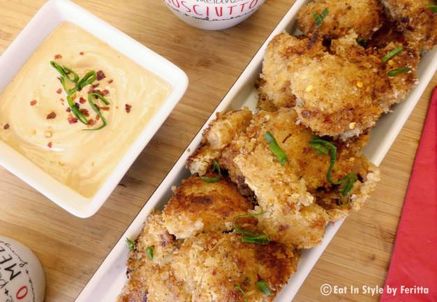 Crispy Chicken Delicious Bites with Smoky BBQ & Chilli Dipping Sauce.  These are perfect for a casual meal or as an appetizer!