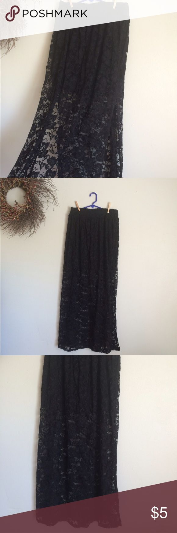 Vanity maxi skirt lace and mini skirt sexy Has a mini under the lace and slit up to the thigh Vanity Skirts Maxi