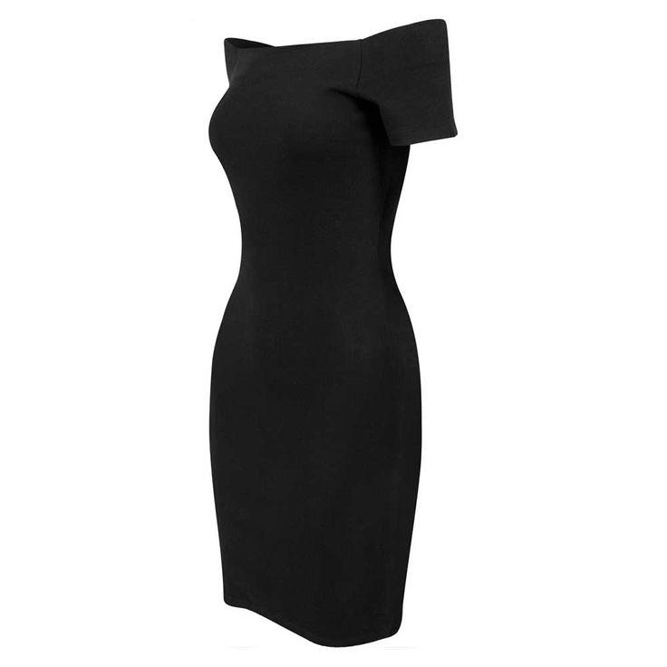 Rib off shoulder korte jurk zwart