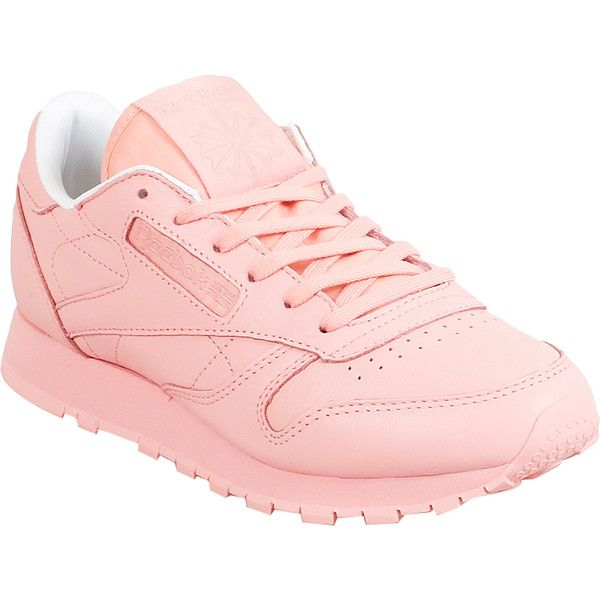 Reebok Classic Leather X Spirit Women's Athletic Sneaker ($80) ❤ liked on Polyvore featuring shoes, sneakers, pink, pink sneakers, reebok footwear, reebok, leather sneakers and low cut shoes